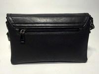 Удобный клатч min-min из мягкой черной кожи 0622/62