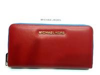 Красное и черное портмоне на молнии Michel Kors